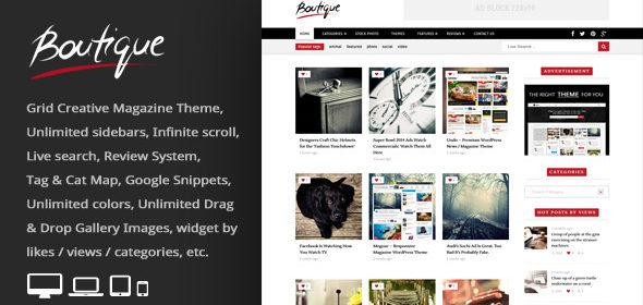 Boutique Grid = Creative Magazine WordPress Theme